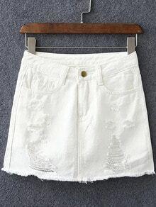 White Pockets Ripped Hole Denim Culottes