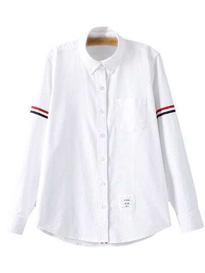 White Long Sleeve Buttons Front Stripe Pocket Blouse
