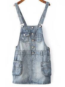 Blue Pockets Buttons Denim Straps Dress