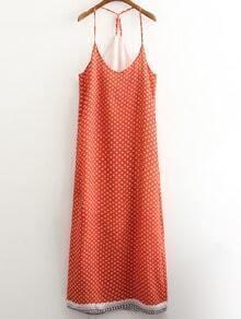 Orange Print Backless Spaghetti Strap Beach Maxi Dress