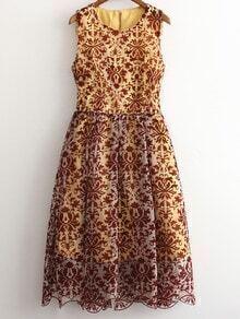 Multicolor Sleeveless Zipper Back Lace Midi Dress