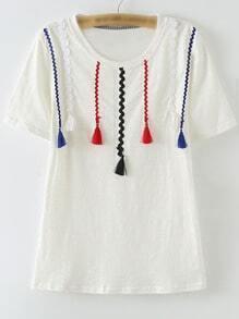 White Short Sleeve Ribbon Tassels T-shirt