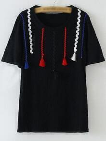 Black Short Sleeve Ribbon Tassels T-shirt