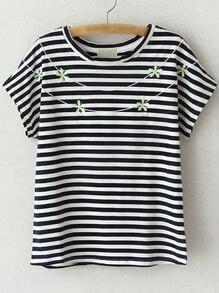 Black Short Sleeve Flowers Embroidery Stripe T-shirt