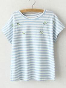 Blue Short Sleeve Flowers Embroidery Stripe T-shirt