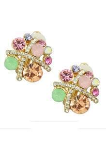 Rhinestone Flower Shape Clip On Earrings