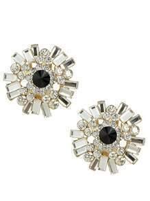Black Rhinestone Stud Earrings