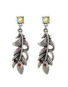 Red Rhinestone Leaf Drop Earrings