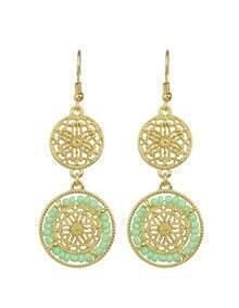 Green Beads Long Drop Earrings