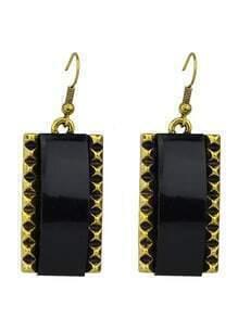 Black Square Drop Earrings