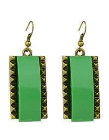 Green Square Drop Earrings