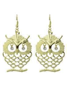 Rhinestone Cute Owl Shape Earrings