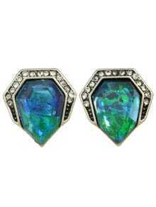 Blue Small Stone Stud Earrings
