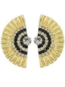 Black Rhinestone Feather Shape Stud Earrings