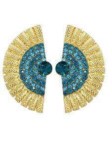 Lakeblue Rhinestone Feather Shape Stud Earrings