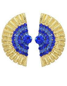 Blue Rhinestone Feather Shape Stud Earrings
