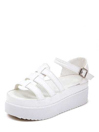 White Faux Patent Leather Open Toe Wedge Sandals