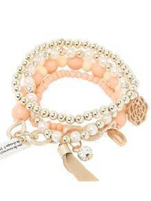 Orange Pearl Beaded Multilayers Hand Chain