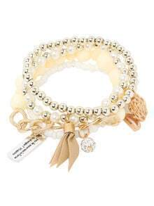 White Pearl Beaded Multilayers Hand Chain