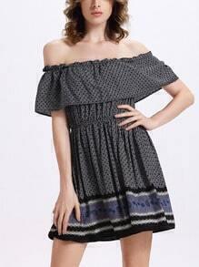 Ruffled Off-The-Shoulder Dress - Black