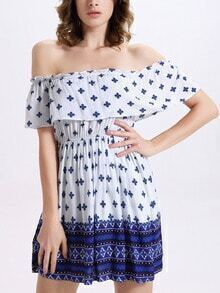 Ruffled Off-The-Shoulder Dress - White