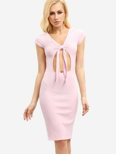 Light Pink Hollow Tie Bodycon Dress
