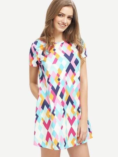 Multicolor Geometric Print Shift Dress