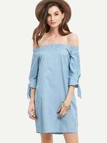 Denim Blue Cold Shoulder Tie Cuff Dress