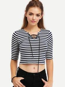 Black White Striped Lace Up T-shirt