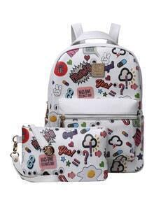 Graffiti Print Backpack With Clutch