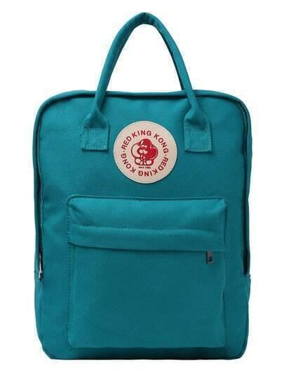 Dual Handle Rectangle Canvas Backpack - Lake Green