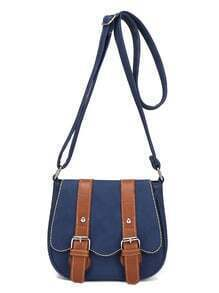 Contrast Dual Buckle Strap Saddle Bag