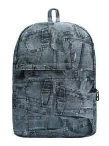 Blue Jeans Print Canvas Backpack