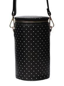 Polka Dot Print Top Zip Cylinder Bag