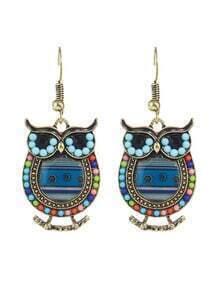 Blue Enamel Beads Owl Shape Earrings