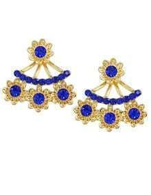 Blue Rhinestone Stud Earrings