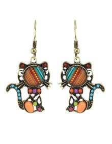 Orange Beads Cat Shape Drop Earrings
