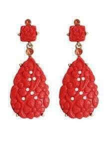 Resin Red Long Drop Earrings