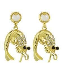 Rhinestone Vivid Shrimp Shape Earrings