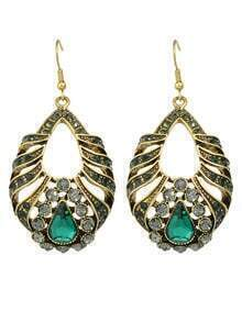 Green Rhinestone Drop Leaf Earrings