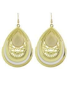 Beige Enamel Big Drop Earrings