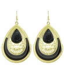 Black Enamel Big Drop Earrings