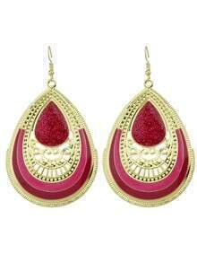 Hotpink Enamel Big Drop Earrings