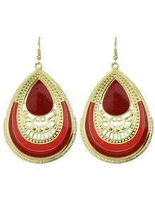 Red Enamel Big Drop Earrings