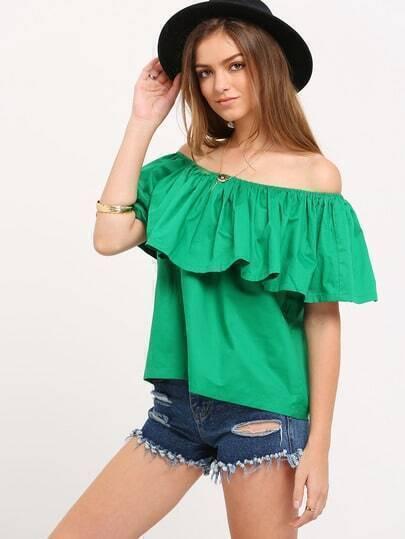 Green Boat Neck Ruffle Shirt