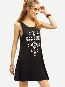 Black Geometric Print Tank Dress