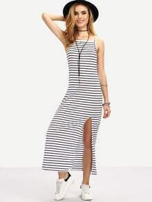 Striped Backless Split Cami Dress