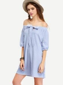 Blue Off The Shoulder Striped Bow Dress