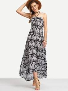 Black Leaves Print Sleeveless Crisscross Maxi Dress