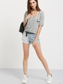 Grey Short Sleeve Skull T-shirt